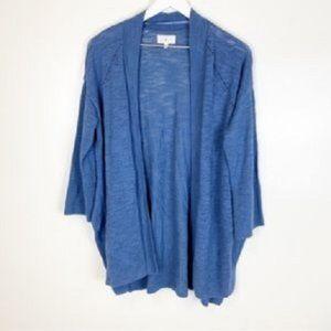 Lou & Grey Blue Burnout Pointelle Knit Cardigan